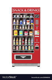 Automatic Vending Machine Cool Automatic Vending Machine With Food And Drinks Vector Image