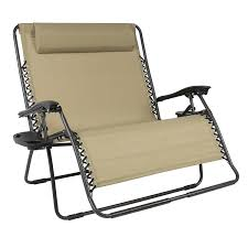 com best choice s folding 2 person oversized zero gravity lounge chair w 2 accessory trays outdoor patio beach garden outdoor