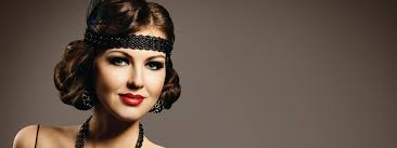 model with a 1920s flapper hairstyle