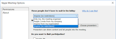 the individual meeting options have been customized to control specifically which partints are forced into the lobby a scheduled skype for business