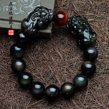 jia jing yue brave the ice kind of obsidian double rainbow obsidian eye bracelet male and female models natural crystal jewelry bracelets in