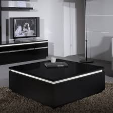 black coffee table. Elisa Coffee Table Square In Gloss Black With Storage_1