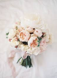 blush cream peonies for the bridal bouquet image via snippet ink