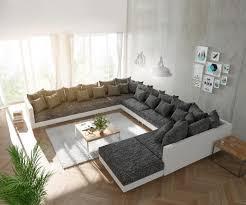 Couch Clovis Xxl Weiss Schwarz Mit Hocker Ottomane Links Wohnlandschaft