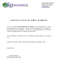 Enchanting Template Certificate Of Employment Composition