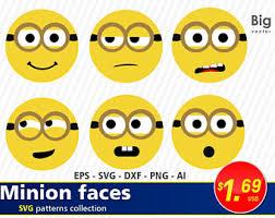 Minions faces SVG Png EPS AI Dxf, minion face, despicable me minion svg,