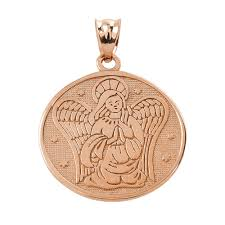 details about two sided rose gold guardian angel charm pendant