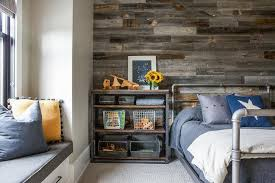 industrial metal and wood shelving unit next to kids bed
