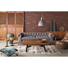 moe's home collection fn canal sofa grey tufted fabric on