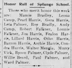 Falkners and Harrises on Honor Roll at Splunge School - Newspapers.com