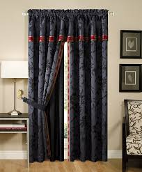 com chezmoi collection 4 piece palace jacquard window curtain d set with sheer backing black gold red home kitchen