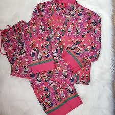 Josie Natori Size Chart Josie Natori Fuchsia Asian Print Pajama Set