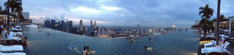 infinity pool singapore night. Marina Bay Sands Infinity Pool, At The Top Of MBS Building, Which Spans Pool Singapore Night