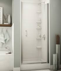 shower with a glass door and a ceramic wall