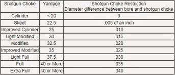20 Gauge Choke Chart Choke Tube Chart