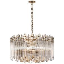 adele large wide drum chandelier in hand rubbed antique brass with clear acrylic