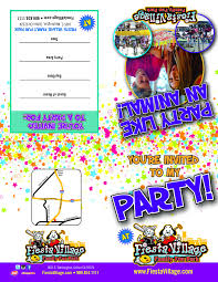 Birthday Party Evites Party Invitations Fiesta Village Family Fun Park