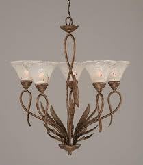 5 light leaf chandelier w 7 in frosted crystal glass shades