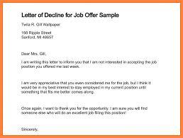 Sample Formal Letter Extraordinary Formal Letter Declining Job Offer Rejection Decline Of For Sample