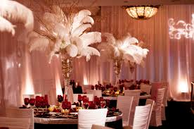 fancy and luxurious ostrich feather centerpieces