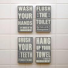 kids bathroom decor signs. Delighful Decor Neutral Bathroom Art Kid Decor Set Of 4 By Order The  Management Kids Room Wall Art Box Signs Inside Pinterest