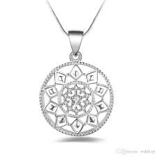 whole trendy silver fantasy flower pendant necklace women jewelry fashion austrian crystal round pendant with snake chains pendant necklaces diamond