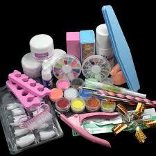 Nail Art Set Acrylic Liquid Glitter Powder File Brush Form Tips ...