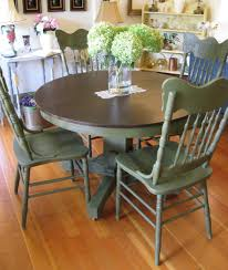 painted pedestal table and press back chairs from serendipity vintage furnishings olive chalk paint from annie sloan