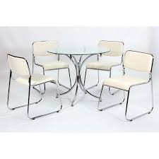 out of stock orkney clear glass round dining table four cream leather chairs