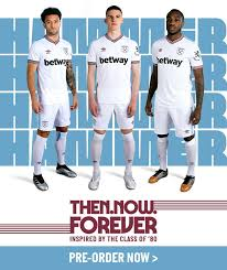 Great selection of west ham utd shirts and kit featuring vintage home, away, training, player issue plus lots of great clearance deals on the hammers current and vintage ranges. West Ham Kit 2019 20 Home And Away Shirt Unveiled Radio Times