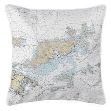 Bvi Navigation Charts Bvi Tortola Bvi Nautical Chart Pillow