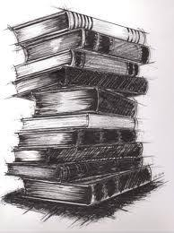 charcoal drawing of books stacked google search