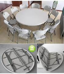 china 5 foot banquet round fold in half table chair set sy