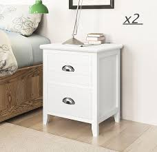 Shabby Solid Acacia Wood <b>Bedside Cabinet</b> Chests of <b>2</b> Drawers ...