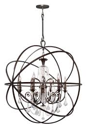 crystorama solaris 6 light crystal bronze sphere chandelier ii 9219 eb cl mwp