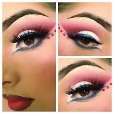 fuchsia crystals accent red white and blue eye shadow inspired by the 4th of july