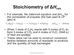43 stoichiometry of Δhrxn for example the balanced equation and Δhrxn for the combustion of propane