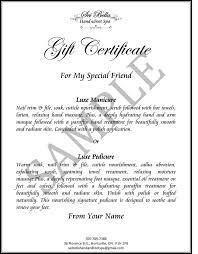 Gift Certificate Wording Custom Gift Certificate Sample Voucher 525733599072 Gift
