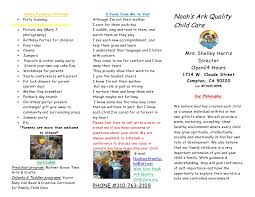 baby pamphlets noahs ark quality child care brochure