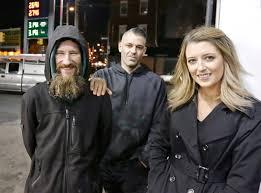 Girls blow homeless man