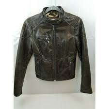 laundry by shelli segal distressed leather moto jacket brown small long sleeve