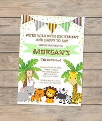 Safari Party Invitations Amazon Com Safari Birthday Invitation Jungle Animals Birthday