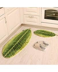 rugs for kitchen floor ustide 2 piece kitchen rug set green leaf shaped area rug flocking