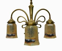 french art nouveau chandelier signed p lucas bronze with glass shades