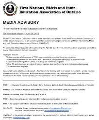 Media Advisory Media Advisory Reconciliation Theme For Indigenous Studies Educators