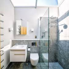 Small Contemporary Shower Room In Other With White Cabinets, Grey Tiles,  Ceramic Flooring,