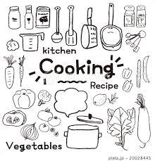 鉛筆で描いたようなキッチンツールと野菜セットのイラスト素材 20028445