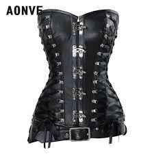aonve women steampunk leather corset y buckle vintage corselet gothic waist trainer lace up korset push