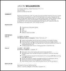 Dance Resume Impressive Free Contemporary Dancer Resume Template ResumeNow
