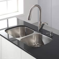 kraus 32 inch undermount 50 50 double bowl 18 gauge stainless steel kitchen sink with